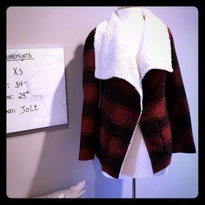 Red and Black buffalo plaid wrap jacket/wrap